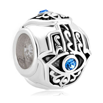 Free shipping 1PC Silver Blue Crytsal Evil Eye On Hamsa Hand Bead Charms Fits Pandora Style Charm Bracelets