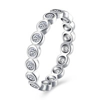 """Sterling Silver Pandora Inspired Simulated Diamond """"Eternity"""" Ring"""
