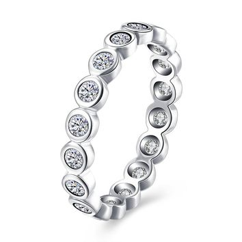 "Sterling Silver Pandora Inspired Simulated Diamond ""Eternity"" Ring"
