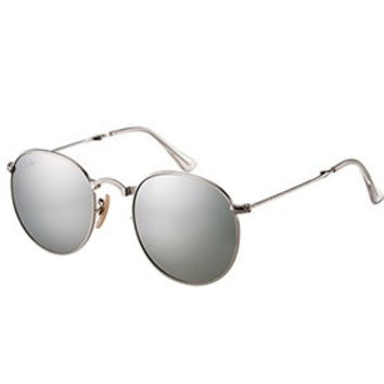 Ray Ban Round Silver Metal Frame Grey Lenses Sunglasses 308161