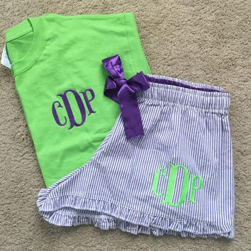 Seersucker Monogrammed Bitty Boxer Pajama Set, New Short Sleeved Color Shirts! New Colors and Monogram Styles!