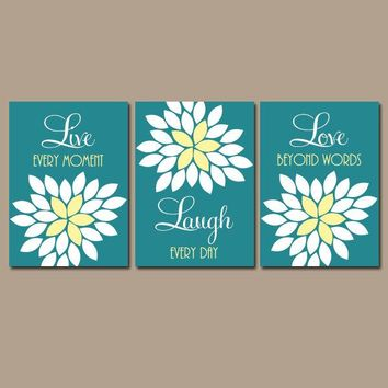 Live Laugh Love Wall Art, Teal Yellow Decor, Girl Bedroom Pictures Quotes, CANVAS or Prints, Bathroom Decor  Set of 3 Home Decor Wall Decor
