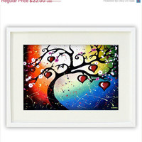 Giclee Print - Cherry Tree of Life Art - Whimsical Love Art Red Hearts Abstract Tree Wall Art - Valentines's Day Gift 8.5 x 12.5 Signed