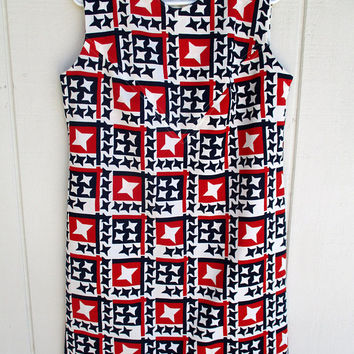 Vintage Shift Dress Large XL Red White Blue Stars Romper Sleeveless 4th July Patriotic USA