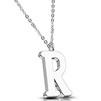 BodyJ4You Necklace Letter R Initial Alphabet Charm R Stainless Steel Chain