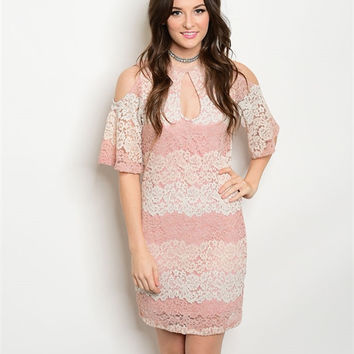 * MAUVE CREAM LACE DRESS