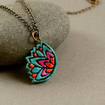Colorful Lotus Flower Necklace - Polymer Clay - Teal, Fuchsia, Orange