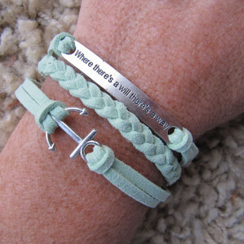 Made in the USA Mint Anchor and Where there's a will there's a way Friendship Charm Bracelet