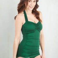 Vintage Inspired Halter Bathing Beauty One-Piece Swimsuit in Emerald by Esther Williams from ModCloth