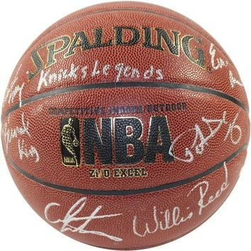 Bernard King/Patrick Ewing/Carmelo Anthony/Willis Reed/Walt Frazier/Earl Monroe Signed I/O NBA Brown Basketball w/ Knicks Legends Insc