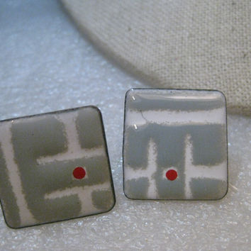 Vintage Copper Enameled Earrings, Screw Back, Modernist/Hipster - Gray/White/Red Square, 1980's