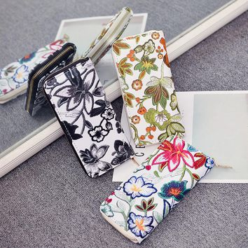 womens wallets and purses Women's Casual Floral Printing Card Holder Billfold Purse Wallet Handbag#NFA