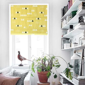 Quick Fix Washable Roman Window Shades Flat Fold, Yellow Base Triangle Village