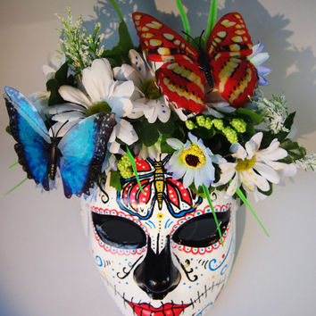 Day of the Dead Mask Roses Buterflies Máscara Catrina Dia de los muertos Mexican Skull