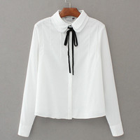 Tangada Korean Style Fashion Women White Bow Tie Blouses Buttons Turn-down Collar Long Sleeve Spring Brand Shirts Tops BAO69