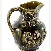 "25% OFF CLEARANCE SALE Arthur Wood, Large 9.5"", Vintage Pitcher, Pottery Jug, Made in Staffordshire England, Wine. Embossed Grapes, leaves,"