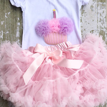 Birthday outfit! Pink chiffon pettiskirt set, kids, petti skirt, cupcake, Birthday, light pink, baby, girls skirt, toddler, baby, fluffy