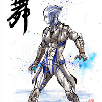 8x10 PRINT Mass Effect Liara Japanese Calligraphy DANCE