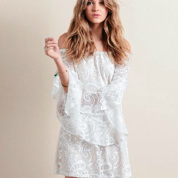 White Off Should Trumpet Sleeve Lace Dress