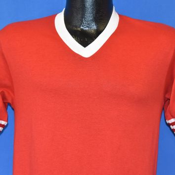 80s JERZEES Red White V Neck Striped Blank Jersey t-shirt Small