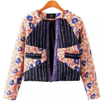 Embroidery Retro Print Padded Jacket