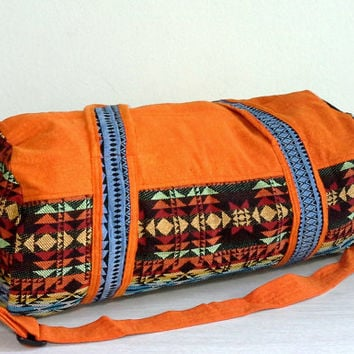 Orange Navajo Duffle Bag for Men Women, Southwestern weekender bag, Hipster travel bag, Cute overnight bag, Cotton Sport Gym bag, Small Size