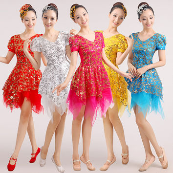 2015 new fashion sequined costume Modern Dance Costume skirt costumes dance costumes square