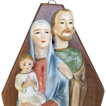Vintage Ceramic and Wood Holy Family Mary Joseph Jesus Wall Plaque