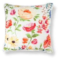Threshold™ Watercolor Floral Decorative Pillow - Coral/Yellow (18x18)