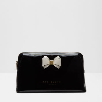 Curved bow large wash bag - Black | Gifts For Her | Ted Baker ROW