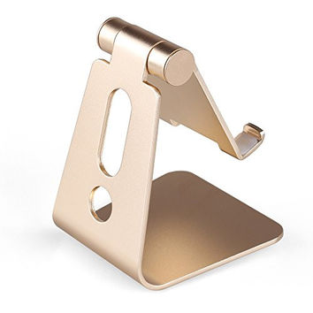 Mothca Adjustable Aluminum Cell Phone Holder, 270 Degree Rotating Multi Viewing Angle Gold