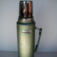 Vintage Stanley Aladdin Thermos Green Quart A- 944DH Distressed Functional