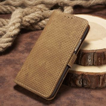 EKONEDA Breathable Vintage Flip Case For iPhone X Case Wallet Leather Stand Cover For iPhone 8 Plus Case