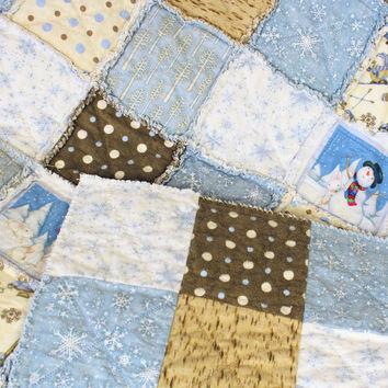 Flannel Rag Throw Quilt, Quilted Winter Couch Throw, Cabin Quilt, Dorm Quilt, Graduation Gift, Snow Babies in Blues & Browns