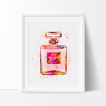 Chanel No. 5 Perfume Bottle Watercolor Art Print