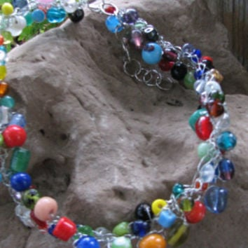 Hand crocheted wire beaded necklace with rainbow glass beads