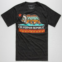 Riot Society Native Cali Mens T-Shirt Heather Black  In Sizes