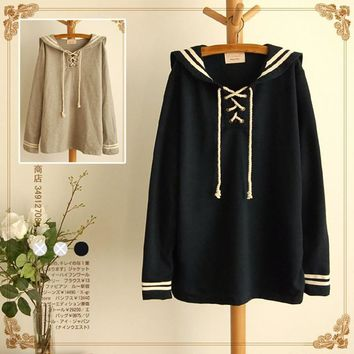 High quality Spring Lolita Cute Grey&Navy Blue Sailor Collar Full sleeve Cute Japan Loose Casual Mori Girl Short Dress