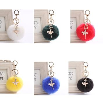 THINKTHENDO Cute Rex Rabbit Bag Parts Bags Accessories Fur Ball PomPom Cell Phone Car Keychain Pendant