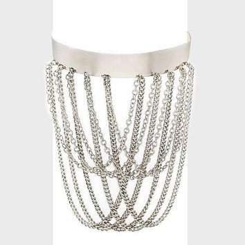 Draped Chain Upper Arm Cuff Bracelet