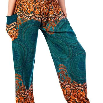 Boho Harem Yoga Pants - Rose Teal Green