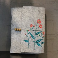 Floral Wool Felt Embroidery Notebook