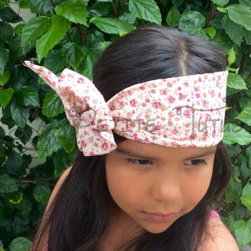 Boho floral headwrap, headwrap, cotton headwrap, custom, handmade, prairie, hair, ooak, head wrap, child, floral, cotton, vintage, prairi