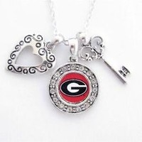 UGA Tri-Charm Silver Necklace | UGA Jewelry | Georgia Bulldogs Merchandise | UGA Gifts
