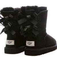 CHEN1ER UGG:: bow leather boots boots in tube
