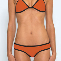Orange Halter Neckline Bikini Swimsuit