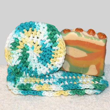 Crochet Cotton Spa Washcloth & Body Scrubby With Optional Face Sponges Facial Bath Wash Cloth Shower Towel Spa Handmade Gift Set