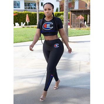 Champion Fashionable Women Sexy Print Short Sleeve Crop Top Pants Trousers Set Two-Piece Sportswear Black