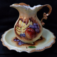 Fruit Pitcher & Bowl, Planter, Vase, Hand Painted,  Brinn's Fine China   (1089)