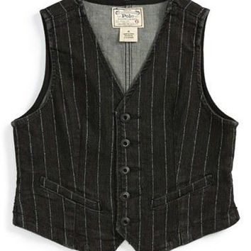 Toddler Girl's Polo Ralph Lauren Pinstripe Denim Vest,